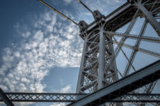 Williamsburg Bridge and clouds. NYC
