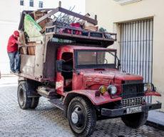 Overloaded truck in Havana, Cuba