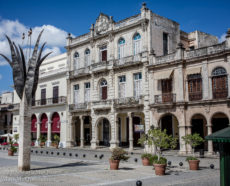 Spanish Colonial architecture recently restored in Havana Cuba